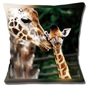 Giraffe-amp-Young-16-034-x16-034-40cm-Cushion-Cover-Cute-Photo-Print-039-Kiss-from-Mum-039
