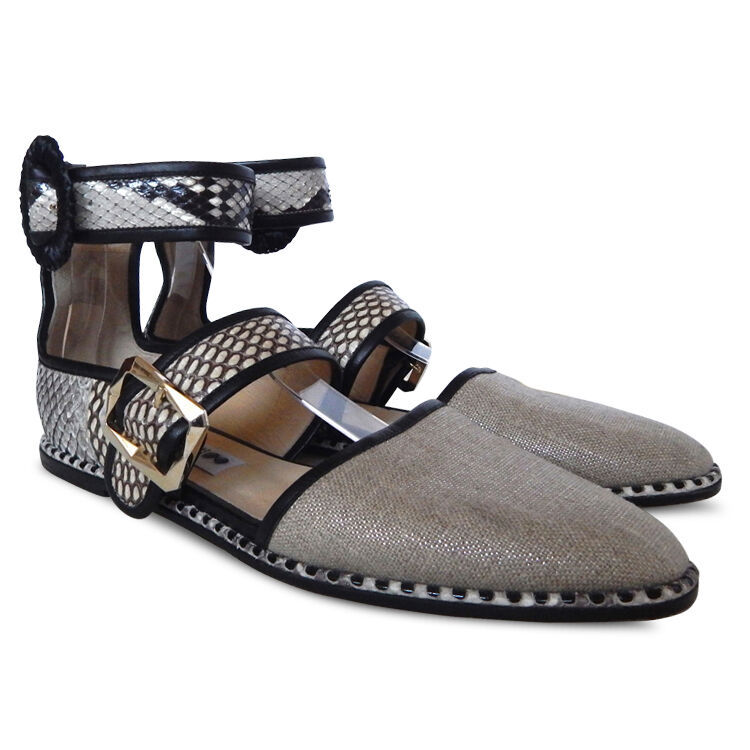 New JIMMY CHOO  Python -Trimmed Canvas Ankle Wrap Flat Sandals - Dimensione 39  vanno a ruba