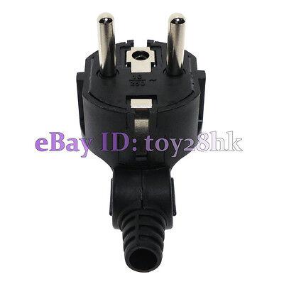 Schuko EU ø4.8mm Pin DIY Rewireable Plug Max AC100~250V 16A BK 10 PCS