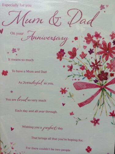 Maman /& papa anniversaire carte avec amour mots