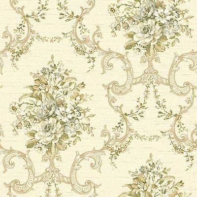Gorgeous Vintage Floral Scroll Damask Wallpaper NK2079 FREE SHIPPING