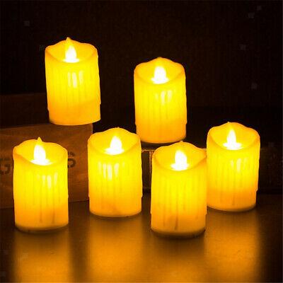 6 PC Battery Power LED Flameless Flickering Wax CandlesPillar Home Decor