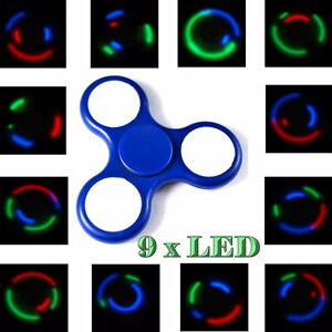 2-x-LED-Finger-Hand-Fidget-Spinner-blau-9-verstellbare-LED-TOP-SPIN-Kugellager