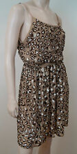 ALICE + OLIVIA Beige 100% Silk Sequin Beaded Leopard Print Blouson Dress Sz: M