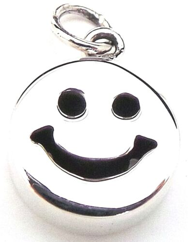 NEW Solid 925 Sterling Silver Sweet Smiley Face Pendant Charm 11x17mm Happy Face