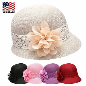 909ecbd9d3e6f3 Women's Gatsby Linen Cloche, Bucket Hat With Lace Band And Flower ...