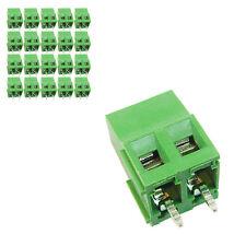 20 pcs 5mm Pitch 300V 16A 2P Poles PCB Screw Terminal Block Connector Green