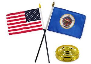 "Minnesota State Flag 4/""x6/"" Desk Table Stick"