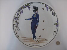 "VILLEROY & BOCH 10"" PLATE ART DECO DESIGN 1900 SIGNED N.3 COILETTE ARMAND VALLEE"