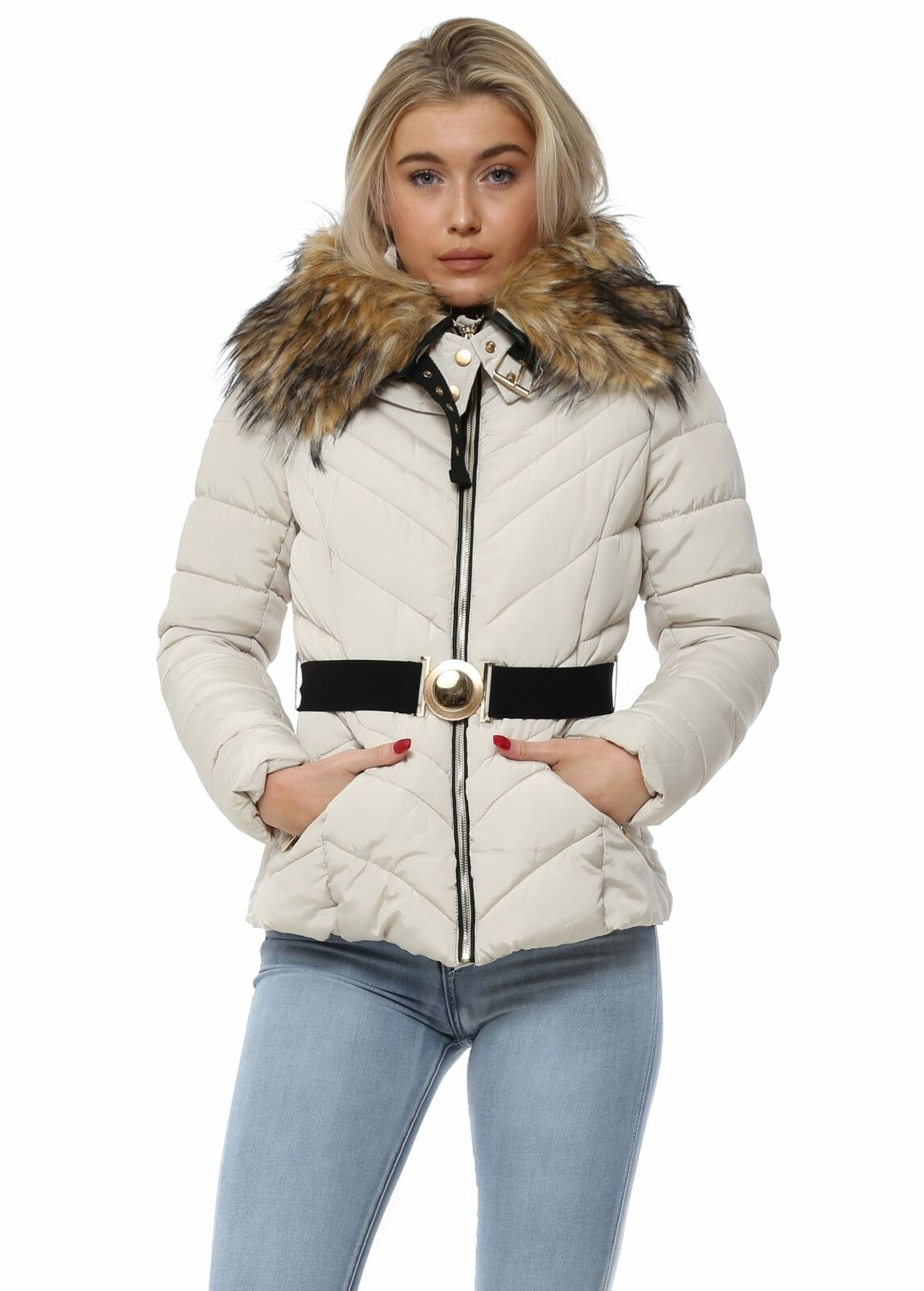 Melya Melody Cream Quilted Belted Faux Fur Hooded Jacket