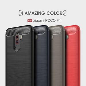 Poco F1 Cover For Xiaomi pocophone F1 Slim Fiber Carbon Silicone Rugged case