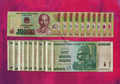 10 x 1,000 Vietnam Dong Bank Notes Currency 10 x 50 Million Zimbabwe Dollars