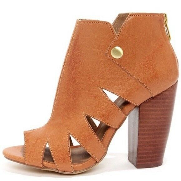 Kelsi Dagger Brooklyn Ball Dance Cut Out Booties Leather Cognac Size 10M Boots
