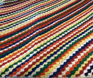 Vintage Colorful Hand Made Crochet Knit Granny Afghan Comfy Blanket 59 X 46 F8