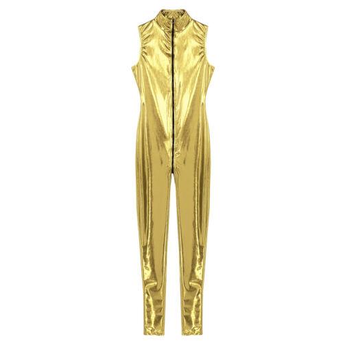M-4XL Women Wetlook Mesh Full Bodysuit Jumpsuit Long Pants Nightclub Rave Party