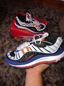 Nuovo-di-Zecca-Nike-Air-Max-98-UK-10-034-BIANCO-DEEP-ROYAL-BLUE-034