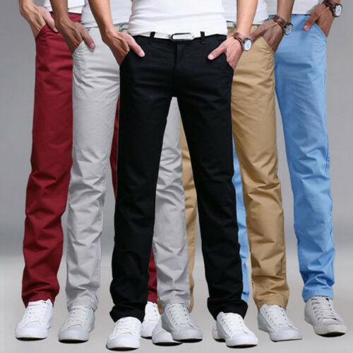Mens Slim Fit Stretch Chino Trousers Casual Flat Front Formal Straight-Leg Pants