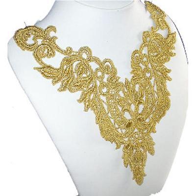 Gold Metallic Venise Yoke Sew on Applique x 1