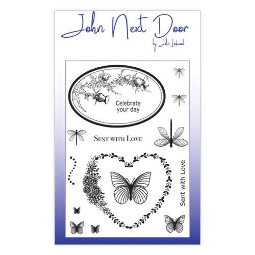 John next door A6 clear stamp set butterfly frames by john lockwood  JND0007