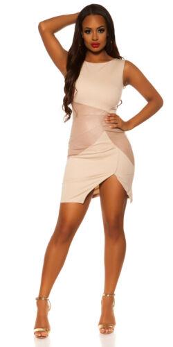 Koucla Damen Kleid Etuikleid Minikleid Partykleid Lederlook Applikationen