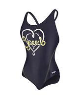 Speedo Logo Placement Splashback Girls Swimsuit Swimming Costume Navy A124