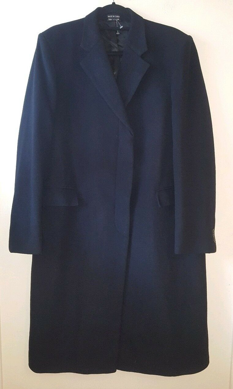 Glauber & Biermans Womens Overcoat Navy XXL Bust 46 Inches Wool Heavy Collared