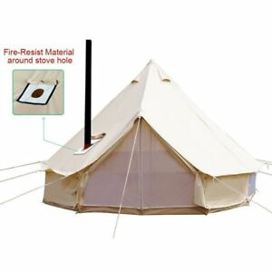 Image is loading 4-Season-Waterproof-Cotton-Canvas-Large-Family-C&-  sc 1 st  eBay & 4-Season Waterproof Cotton Canvas Large Family Camp Bell Tent ...