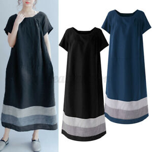 Oversize-Femme-Pur-Coton-Ample-Floral-Bande-Manche-courte-Robe-Dresse-Loisir