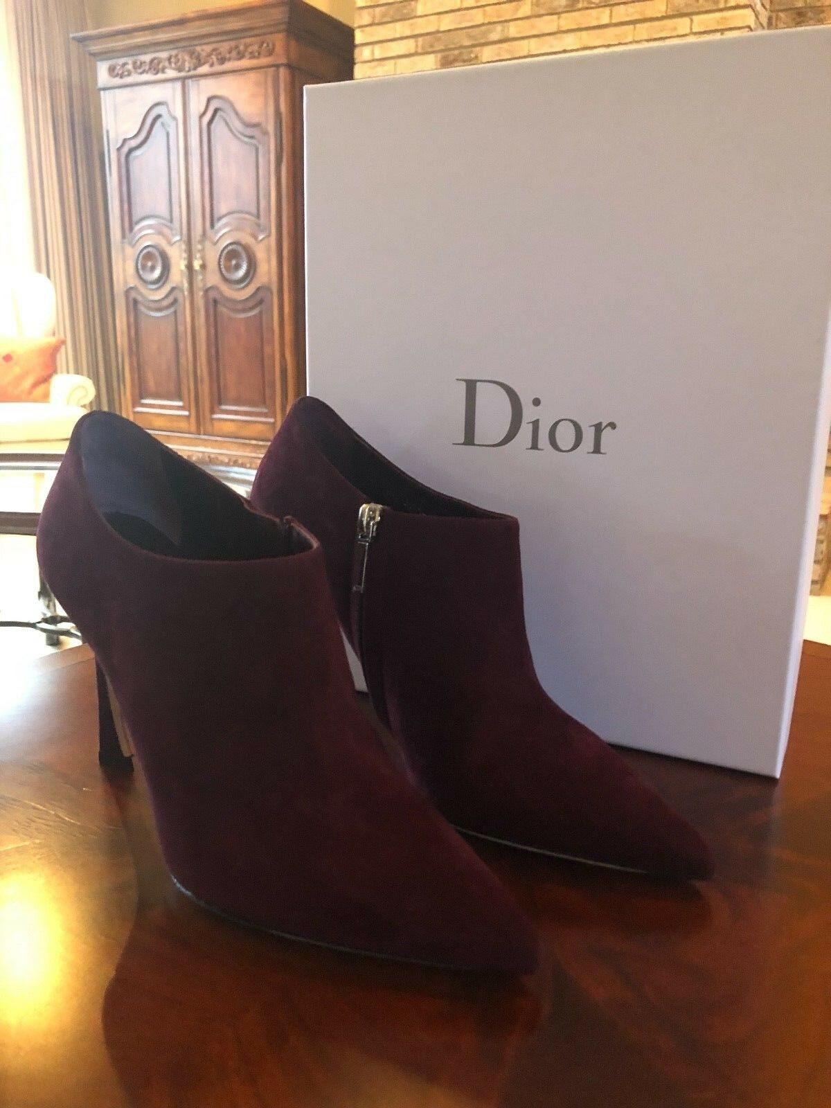 New In Box Authentic Christian Dior démarrageie Taille 39 EU EU EU  8.5 US  Burgundy Suede ffbdff
