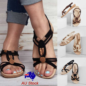 Details about Women Summer Boho Beaded Flat Sandals Ladies Casual Ankle Strap Comfort Shoes