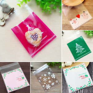 Details About 100pcs Self Sealing Christmas Plastic Candy Cookie Gifts Wrapping Bags Smart
