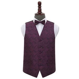 DQT-Woven-Floral-Paisley-Purple-Mens-Wedding-Waistcoat-amp-Bow-Tie-Set