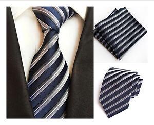 Corbata-gris-y-conjunto-cuadrado-de-bolsillo-y-azul-marino-a-rayas-hecho-a-mano-100-Seda