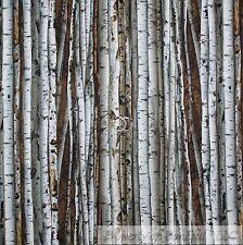 BonEful Fabric FQ Cotton Quilt White Brown Wood Winter Snow Real Birch Tree Camo