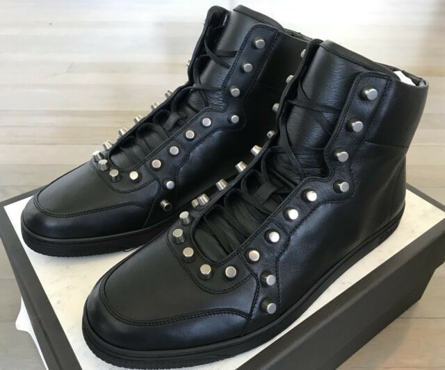 950$ Gucci Black Leather High tops Sneakers w/ Studs Size US 12 Made In Italy