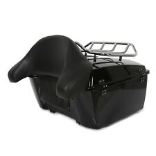 Black Harley Tour pack trunk For Touring Road King Electra glide w/luggage rack
