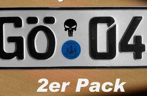 Details Zu 2x Punisher Totenkopf Aufkleber Kennzeichen Nummernschild Plakette 35x25mm