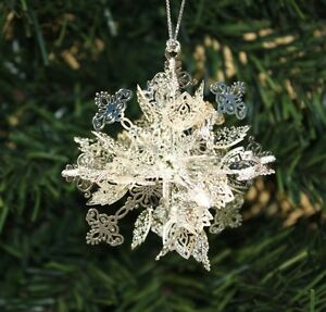 NEW-Silver-Plated-Snowflake-Christmas-Tree-Hanger-Fesitve-Xmas-Decoration