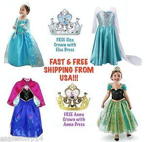 Image is loading FROZEN-Princess-Anna-&-Queen-Elsa-Disney-Girl-  sc 1 st  eBay & FROZEN Princess Anna u0026 Queen Elsa Disney Girl Halloween Costume ...