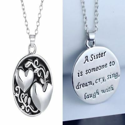 "NEW Charm Pendant Necklace Crystal  ""Sister Tree Of Life"" Love Family gift"