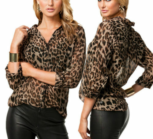 Spring Womens Leopard Printed Long Sleeve Button Down Chiffon Blouse Shirt Tops