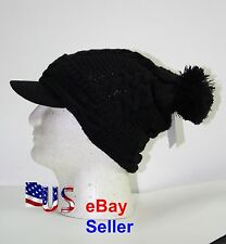 UNISEX BLACK BERET CAP HAT SKULL VISOR SKI MEN WOMEN CHIC BAGGY BEANIE KNIT