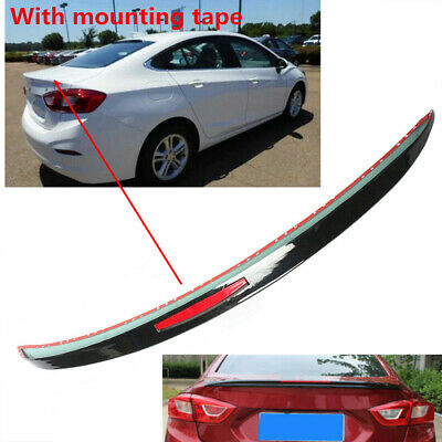 Painted Black For CHEVROLET Cruze 17-19 Rear Spoiler Wing Trunk Lip w//Reflector