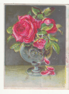 Christmas Card and Art Novelty Company Baltimore MD Vase Roses Vict Card c1880s