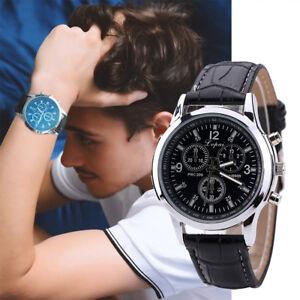Lujo-Reloj-de-Hombre-Acero-Inoxidable-Cuero-Negro-Correa-Marron-Analogico