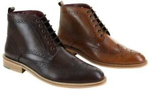 mens smart casual brouge ankle boots shoes laced leather