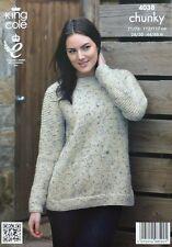 Tejer patrón ladies long sleeve fácil Knit Jumper Grueso King Cole 4038