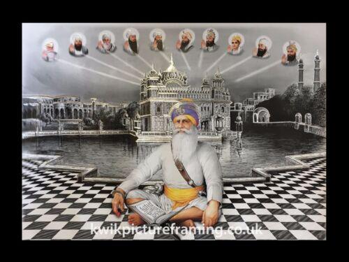 "Guru Gobind Singh Ji avec dix Sikh gourous Photo Encadrée 16/"" x 12/"" pouces"