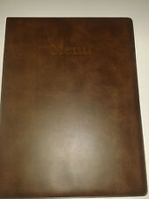 A4 MENU HOLDER/COVER/FOLDER IN BROWN LEATHER LOOK PVC