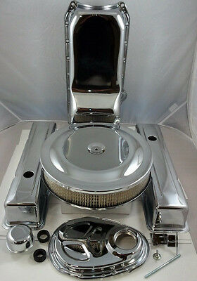 Deluxe Chrome SB Chevy Engine Dress Up Kit Tall Style Covers 283 327 350  58-78